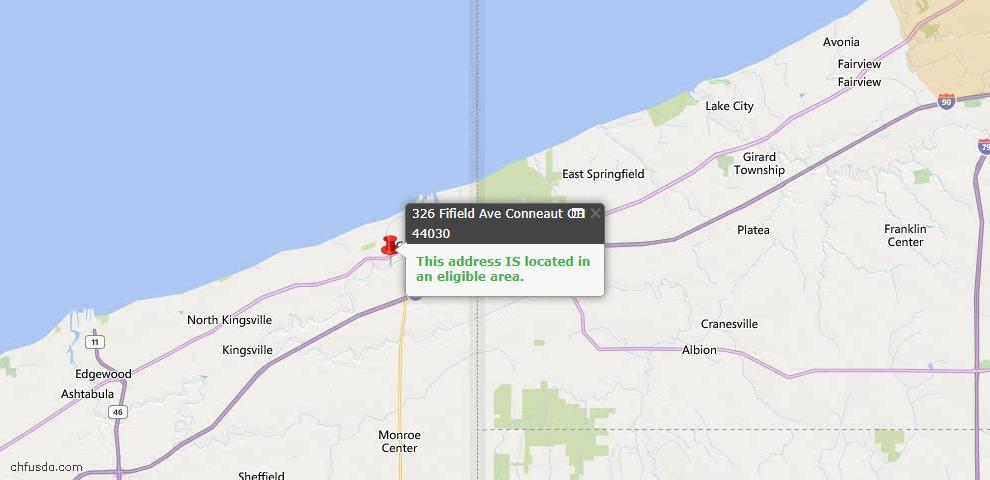 USDA Loan Eligiblity Map - 326 Fifield Ave, Conneaut, OH 44030