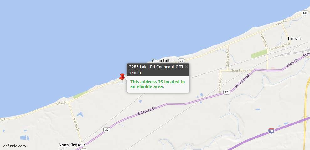 USDA Loan Eligiblity Map - 3285 Lake Rd, Conneaut, OH 44030