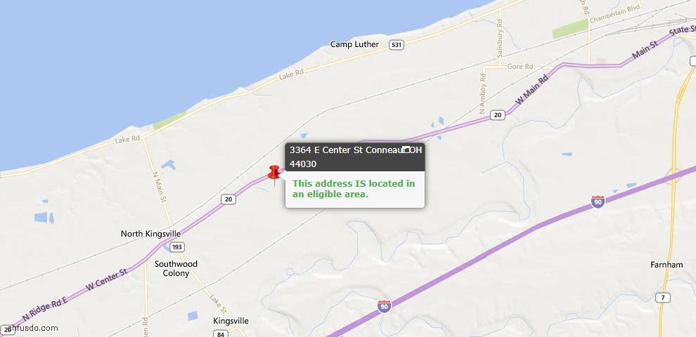 USDA Loan Eligiblity Map - 3364 E Center St, Conneaut, OH 44030