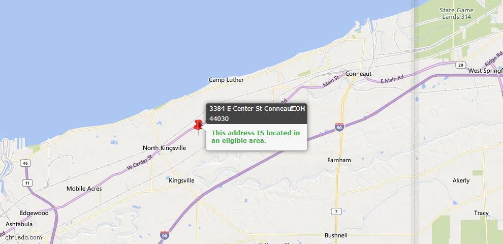 USDA Loan Eligiblity Map - 3384 E Center St, Conneaut, OH 44030