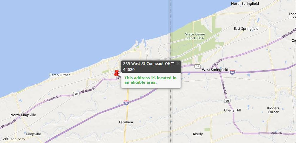 USDA Loan Eligiblity Map - 339 West St, Conneaut, OH 44030
