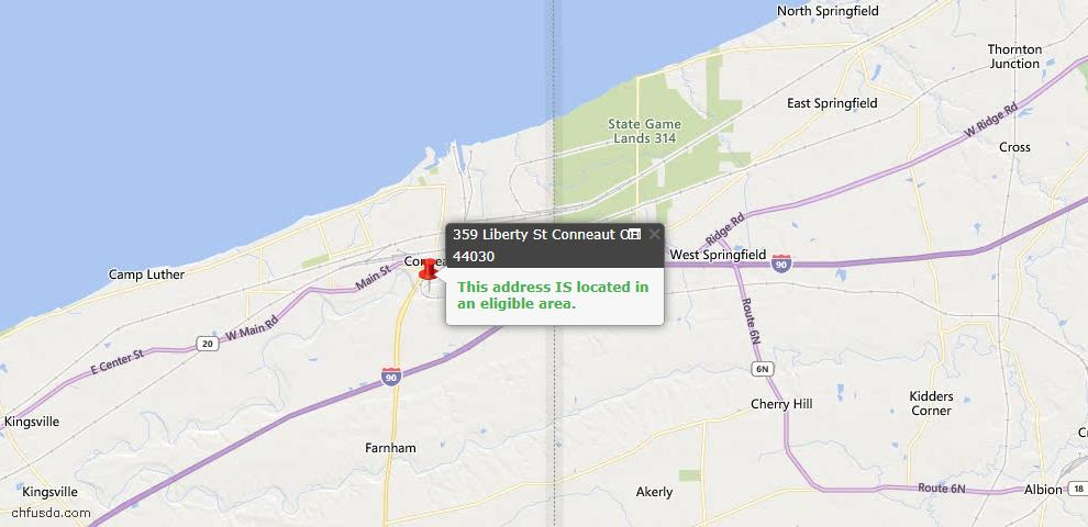 USDA Loan Eligiblity Map - 359 Liberty St, Conneaut, OH 44030