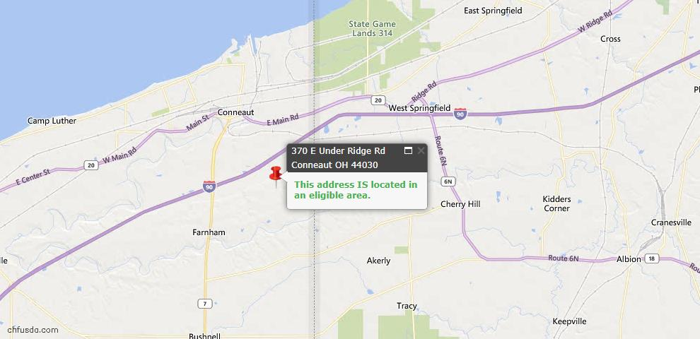 USDA Loan Eligiblity Map - 370 E Under Ridge Rd, Conneaut, OH 44030