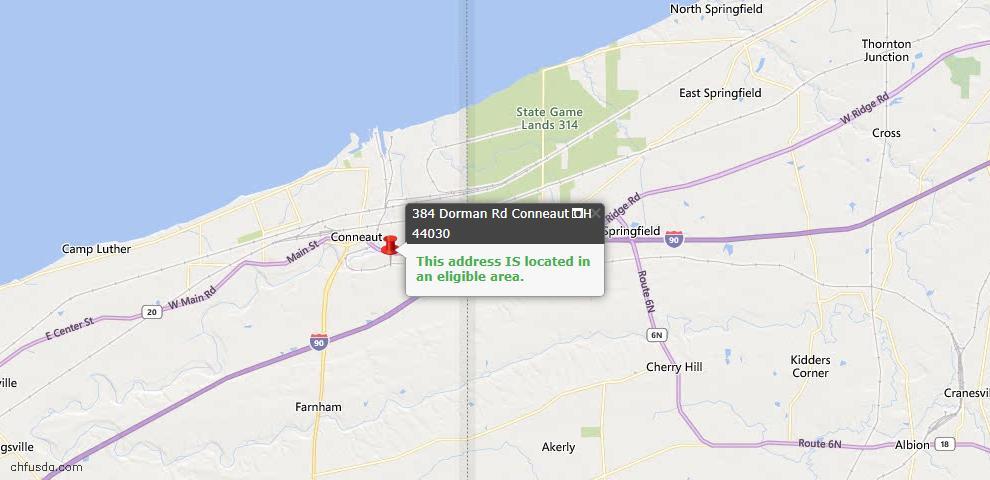 USDA Loan Eligiblity Map - 384 Dorman Rd, Conneaut, OH 44030