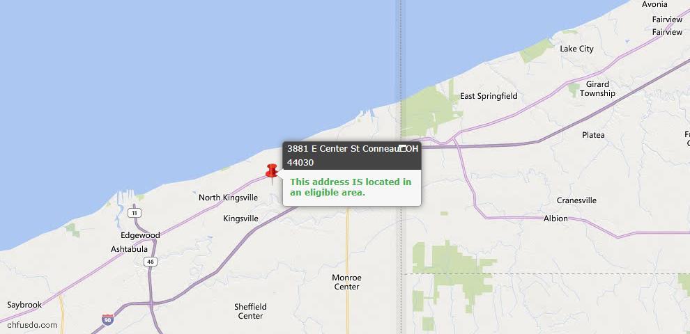 USDA Loan Eligiblity Map - 3881 E Center St, Conneaut, OH 44030