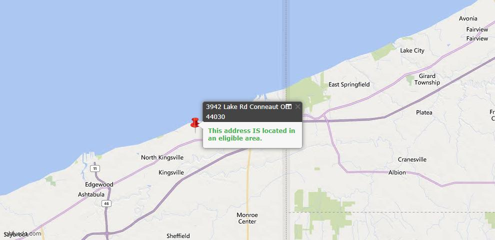 USDA Loan Eligiblity Map - 3942 Lake Rd, Conneaut, OH 44030