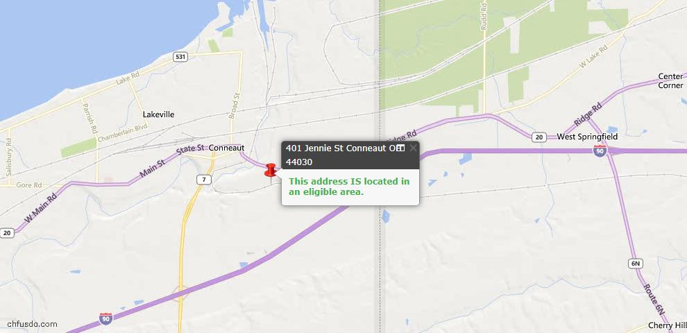 USDA Loan Eligiblity Map - 401 Jennie St, Conneaut, OH 44030