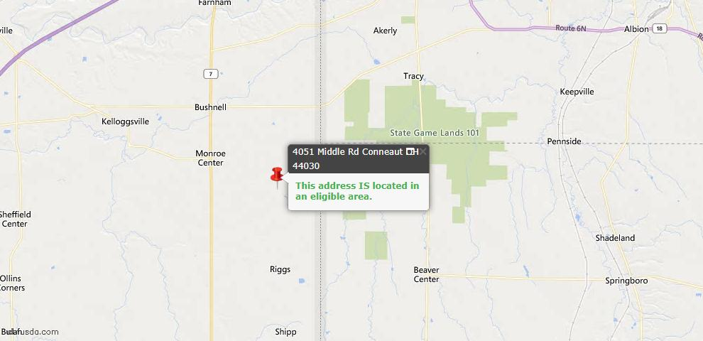 USDA Loan Eligiblity Map - 4051 Middle Rd, Conneaut, OH 44030