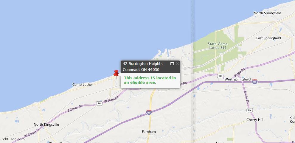 USDA Loan Eligiblity Map - 42 Burrington Hts, Conneaut, OH 44030