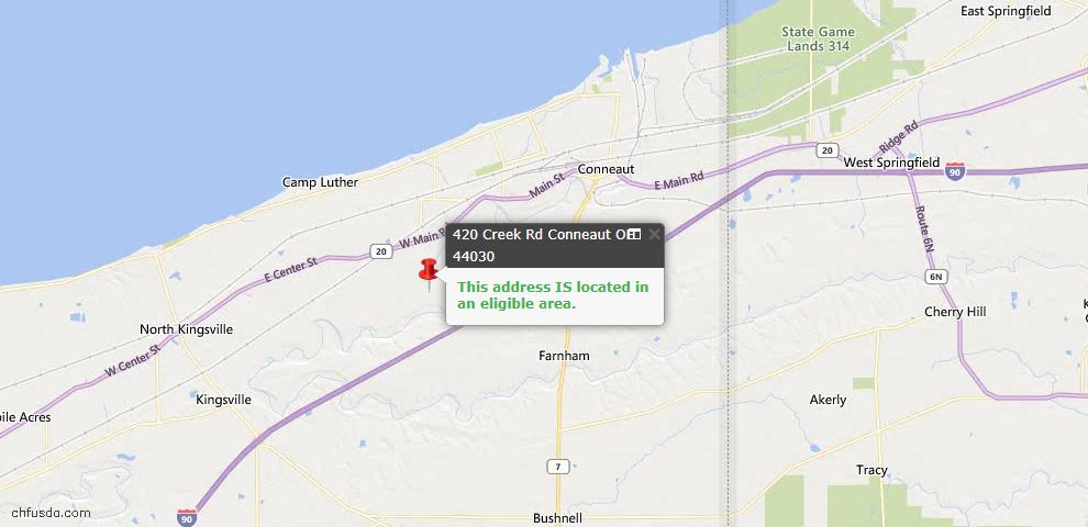 USDA Loan Eligiblity Map - 420 Creek Rd, Conneaut, OH 44030