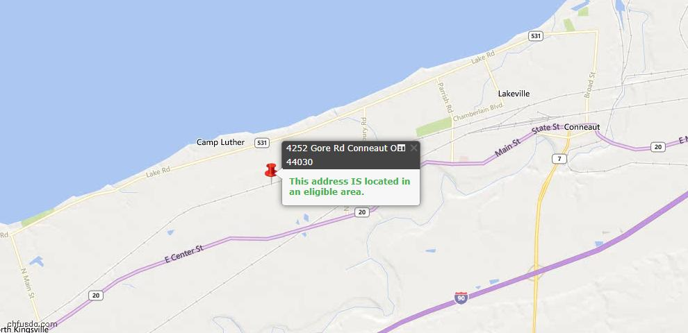 USDA Loan Eligiblity Map - 4252 Gore Rd, Conneaut, OH 44030