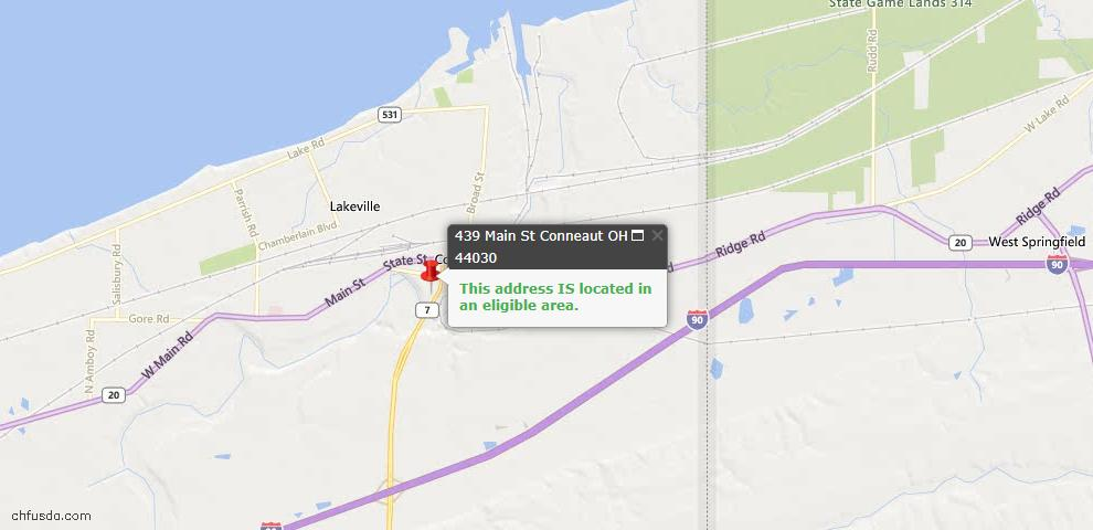 USDA Loan Eligiblity Map - 439 Main St, Conneaut, OH 44030