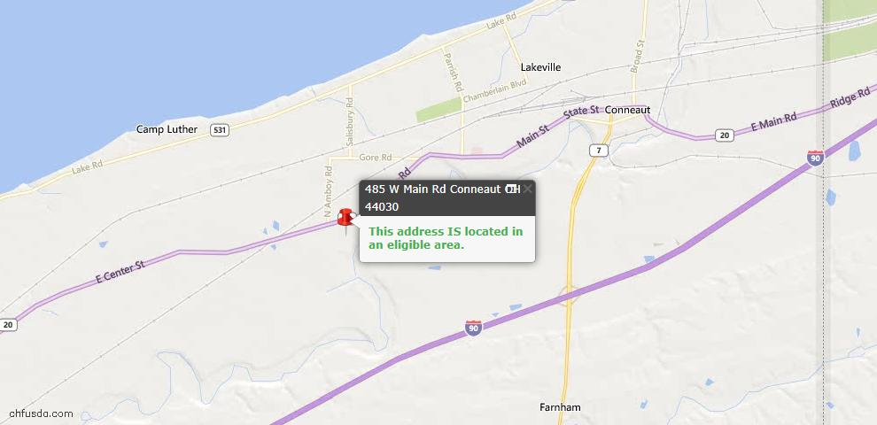 USDA Loan Eligiblity Map - 485 W Main Rd, Conneaut, OH 44030