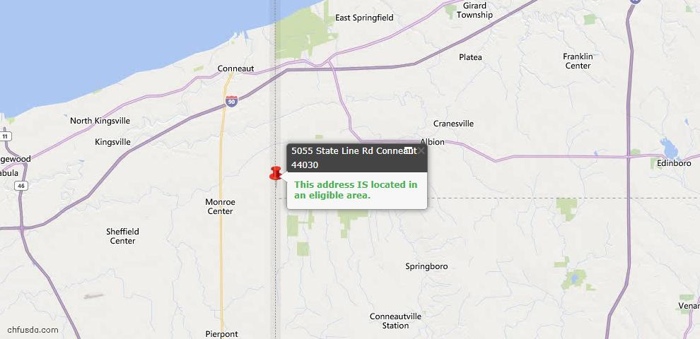 USDA Loan Eligiblity Map - 5055 State Line Rd, Conneaut, OH 44030