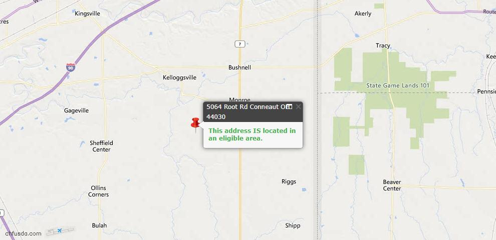 USDA Loan Eligiblity Map - 5064 Root Rd, Conneaut, OH 44030