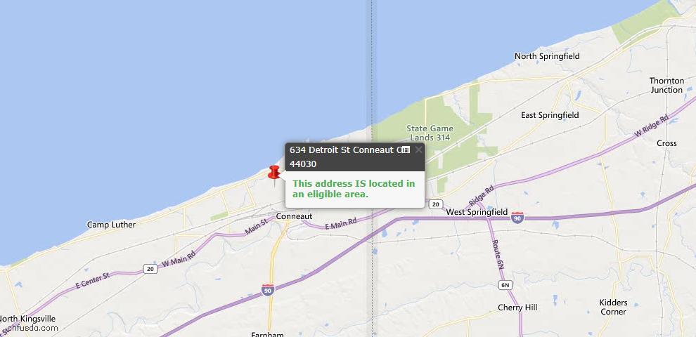 USDA Loan Eligiblity Map - 634 Detroit St, Conneaut, OH 44030