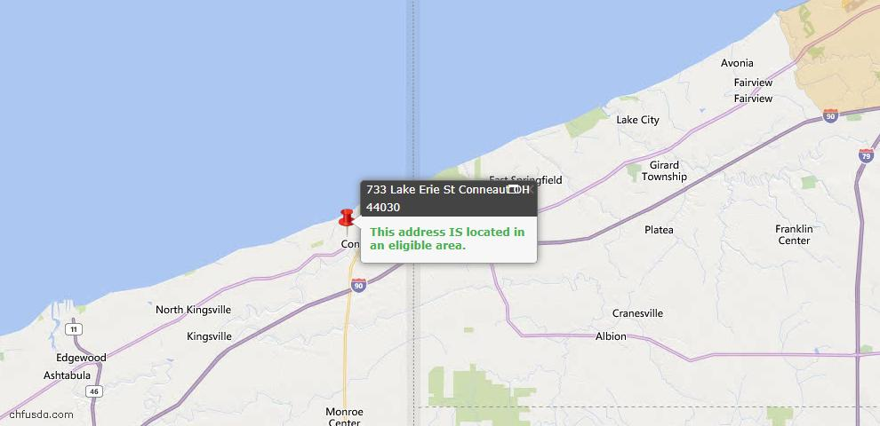 USDA Loan Eligiblity Map - 733 Lake Erie St, Conneaut, OH 44030