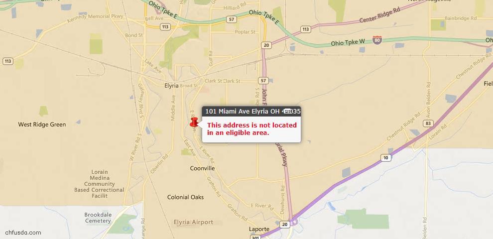USDA Loan Eligiblity Map - 101 Miami Ave, Elyria, OH 44035