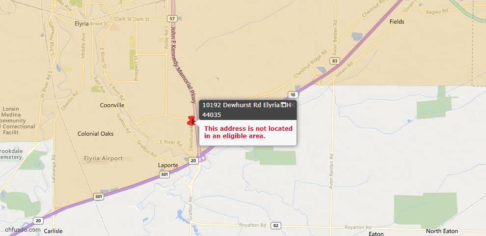 USDA Loan Eligiblity Map - 10192 Dewhurst Rd, Elyria, OH 44035