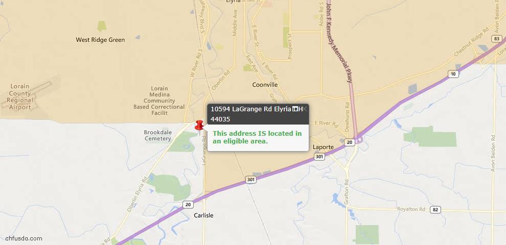 USDA Loan Eligiblity Map - 10594 Lagrange Rd, Elyria, OH 44035