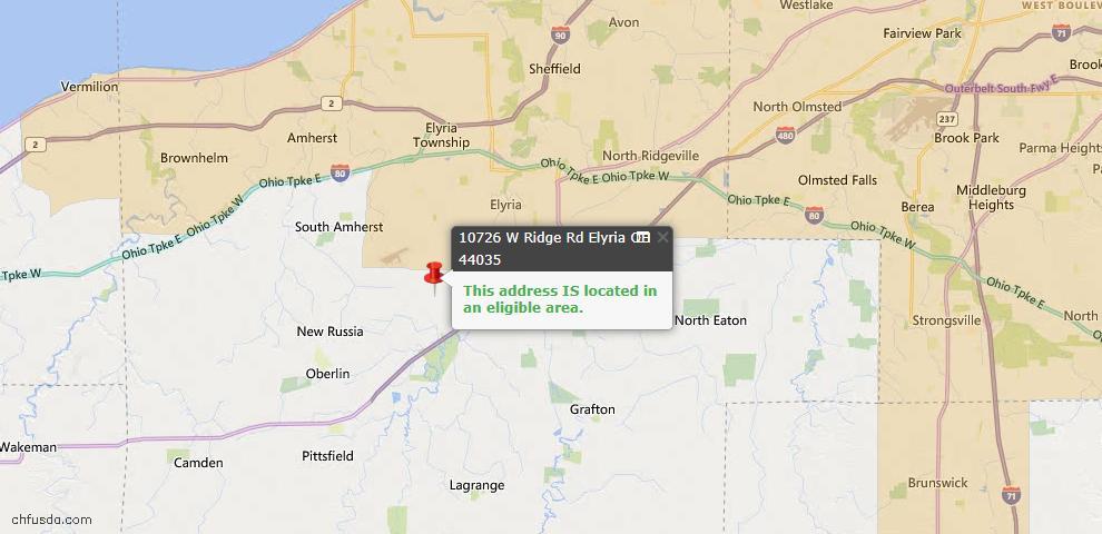 USDA Loan Eligiblity Map - 10726 W Ridge Rd, Elyria, OH 44035