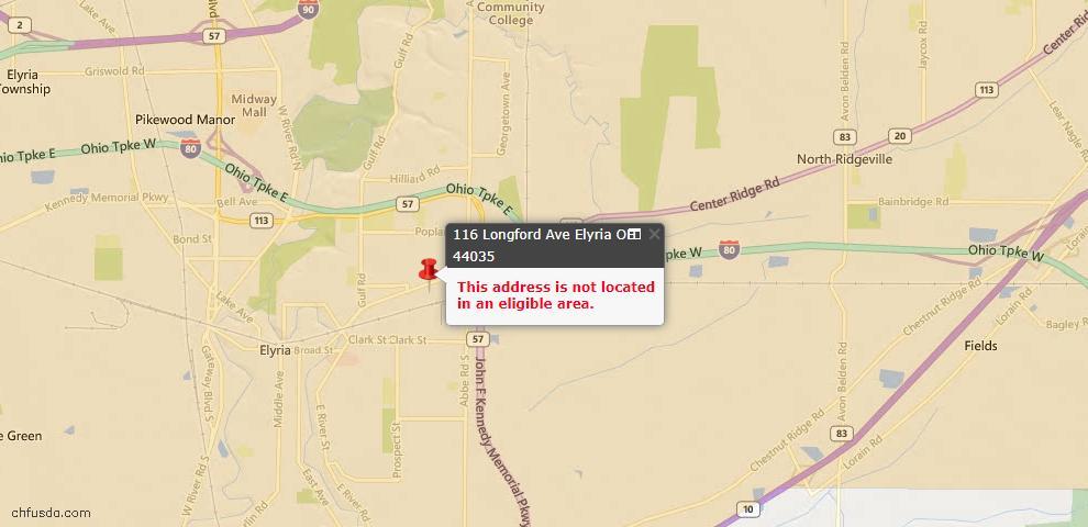 USDA Loan Eligiblity Map - 116 Longford Ave, Elyria, OH 44035