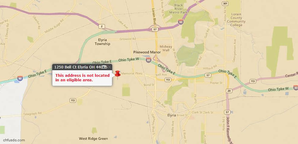 USDA Loan Eligiblity Map - 1250 Bell Ct, Elyria, OH 44035