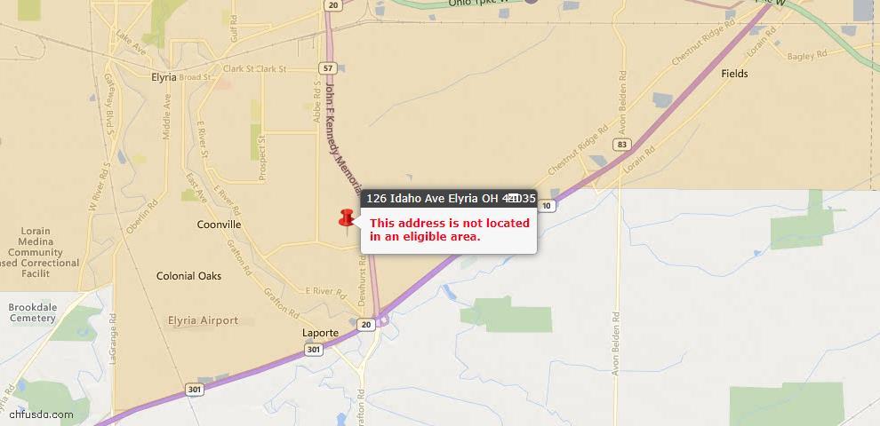 USDA Loan Eligiblity Map - 126 Idaho Ave, Elyria, OH 44035
