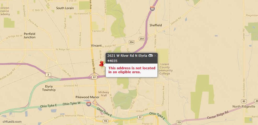 USDA Loan Eligiblity Map - 2621 W River Rd N, Elyria, OH 44035