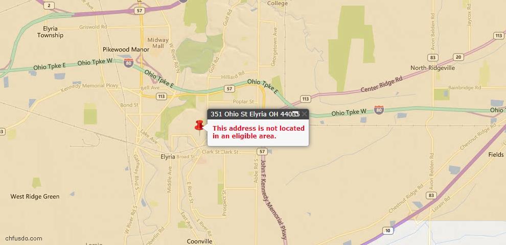 USDA Loan Eligiblity Maps From - Elyria, OH