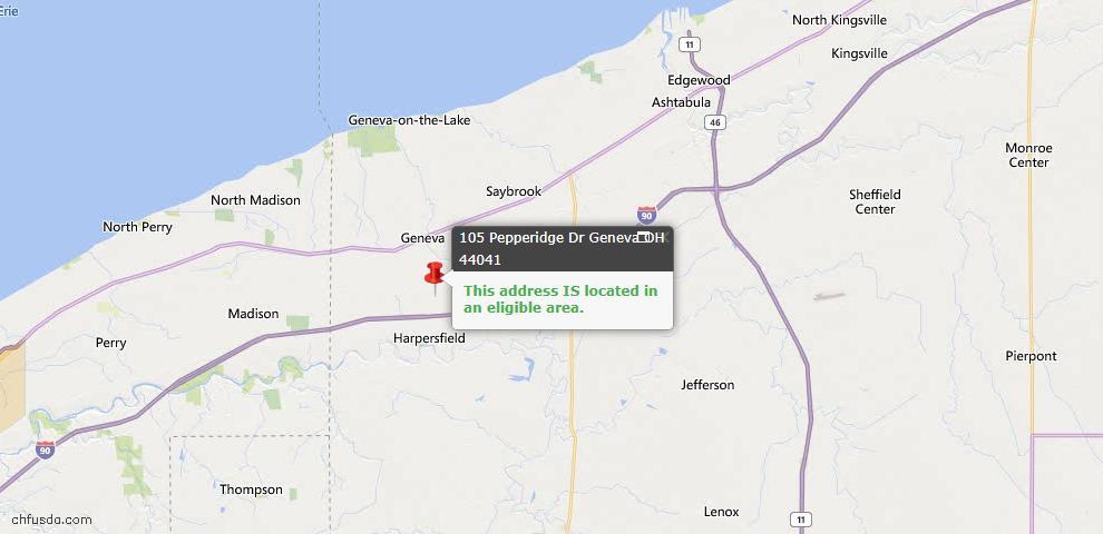 USDA Loan Eligiblity Map - 105 Pepperidge Dr, Geneva, OH 44041