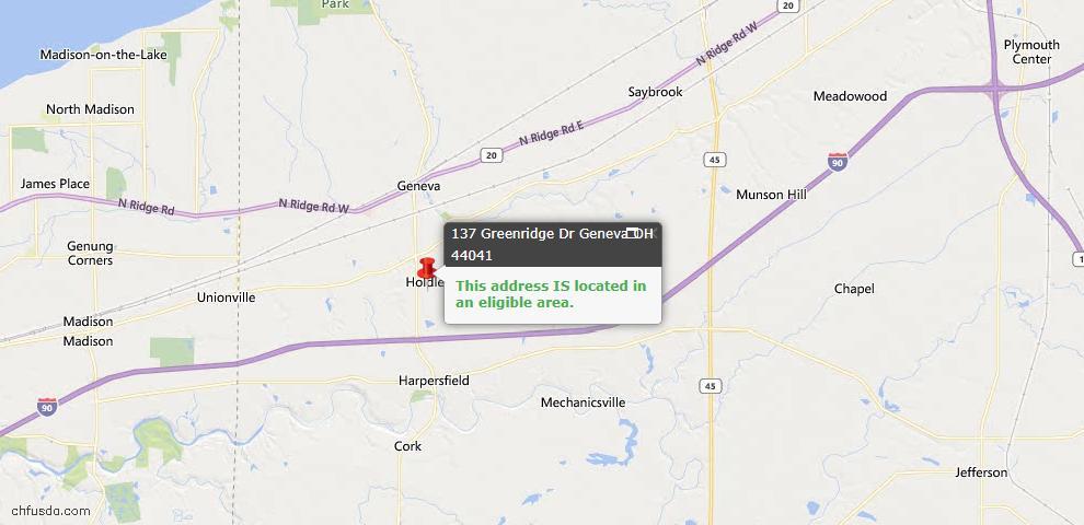 USDA Loan Eligiblity Map - 137 Greenridge Dr, Geneva, OH 44041