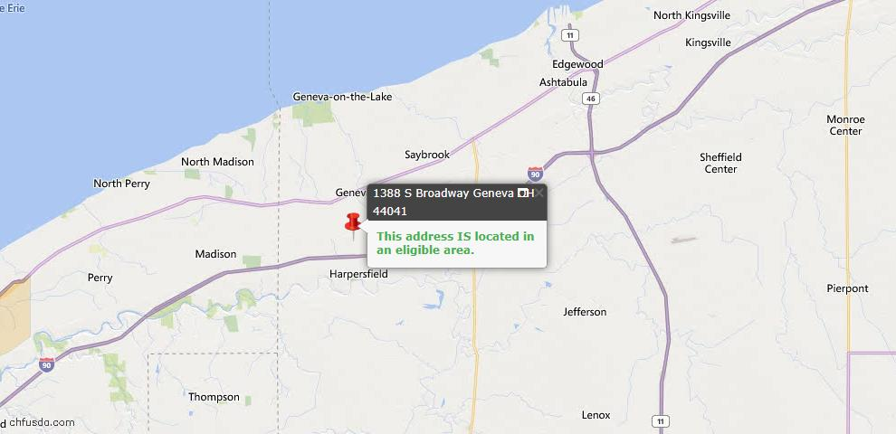 USDA Loan Eligiblity Map - 1388 S Broadway, Geneva, OH 44041