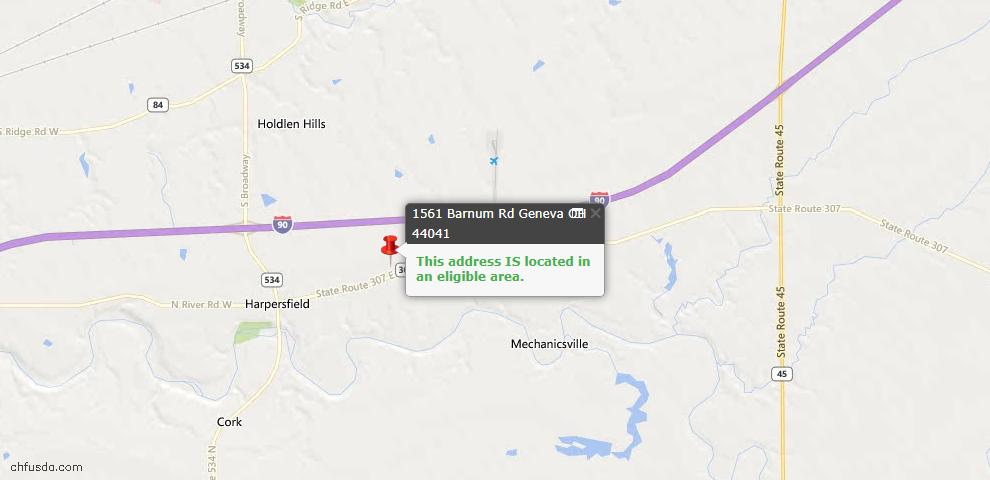 USDA Loan Eligiblity Maps From - Harpersfield, OH