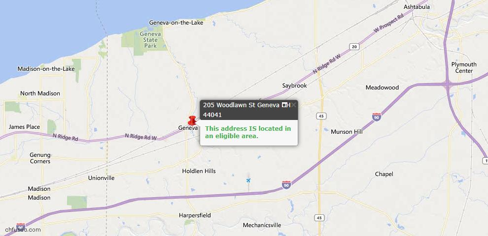 USDA Loan Eligiblity Map - 205 Woodlawn St, Geneva, OH 44041