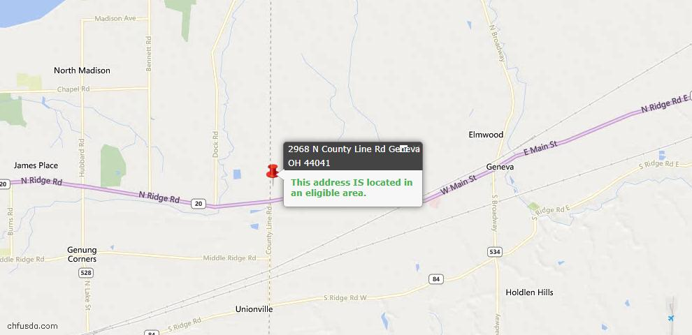 USDA Loan Eligiblity Map - 2968 N County Line Rd, Geneva, OH 44041