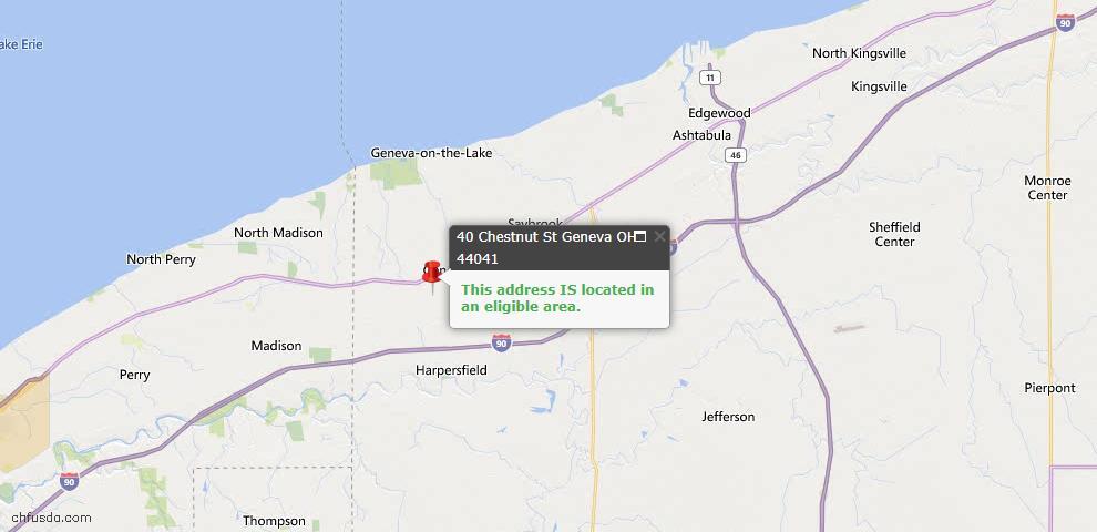 USDA Loan Eligiblity Map - 40 Chestnut St, Geneva, OH 44041
