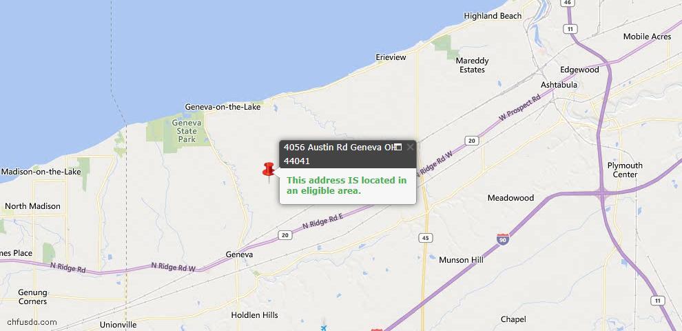 USDA Loan Eligiblity Map - 4056 Austin Rd, Geneva, OH 44041