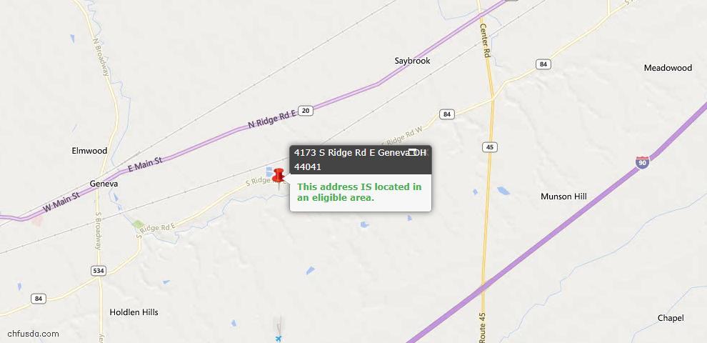 USDA Loan Eligiblity Map - 4173 S Ridge Rd E, Geneva, OH 44041