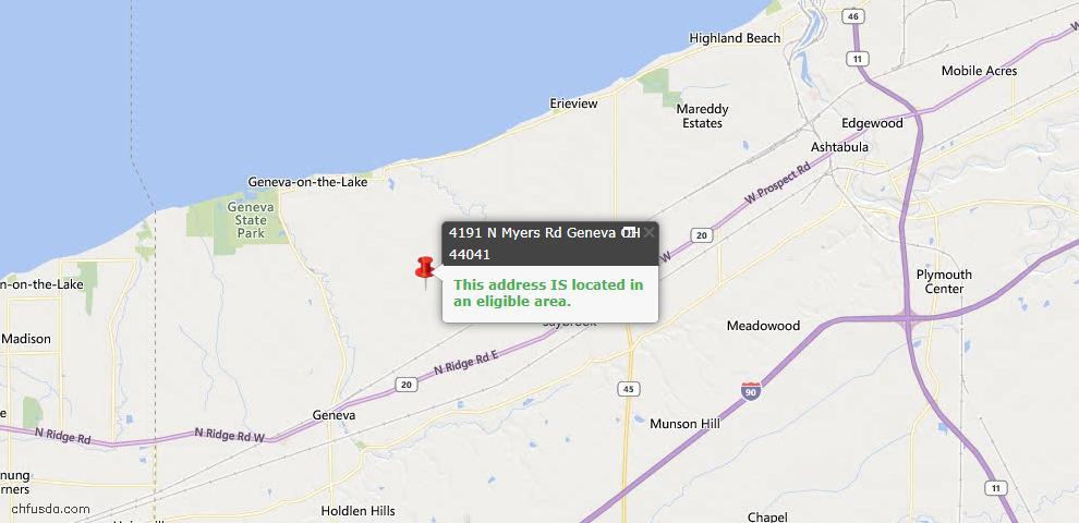 USDA Loan Eligiblity Map - 4191 N Myers Rd, Geneva, OH 44041