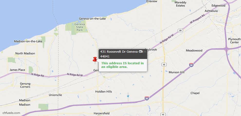 USDA Loan Eligiblity Map - 431 Roosevelt Dr, Geneva, OH 44041