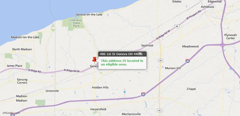 USDA Loan Eligiblity Map - 486 First St, Geneva, OH 44041