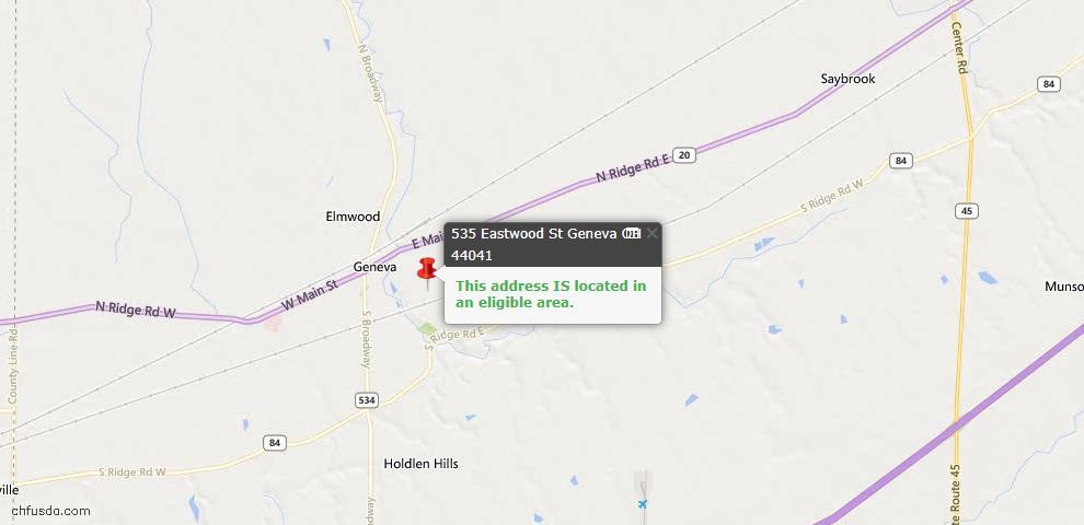 USDA Loan Eligiblity Map - 535 Eastwood St, Geneva, OH 44041
