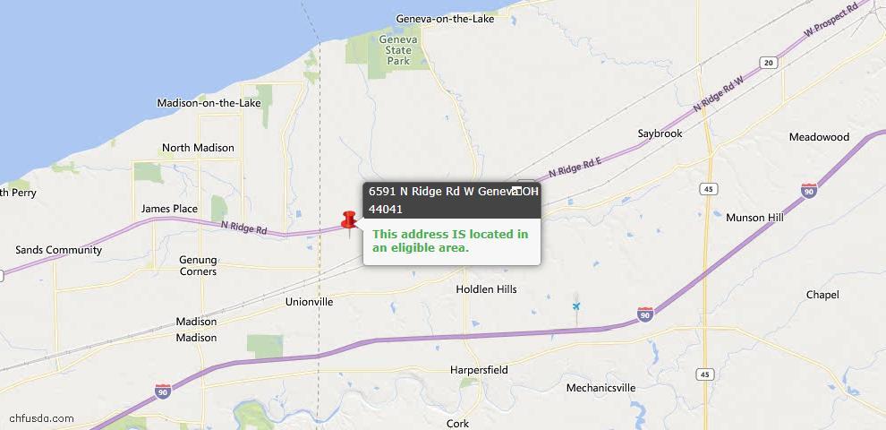 USDA Loan Eligiblity Map - 6591 N Ridge Rd W, Geneva, OH 44041