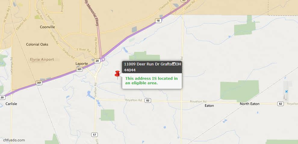 USDA Loan Eligiblity Map - 11009 Deer Run Dr, Grafton, OH 44044