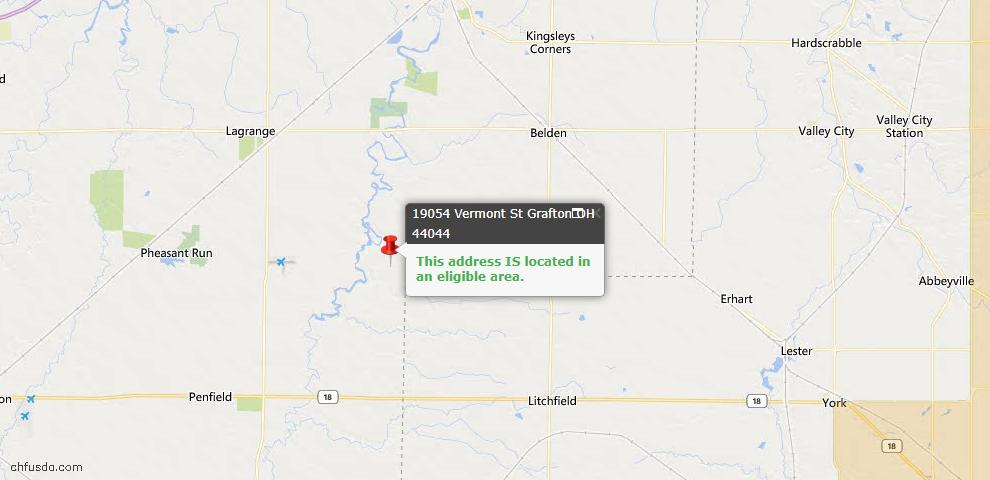 USDA Loan Eligiblity Map - 19054 Vermont St, Grafton, OH 44044