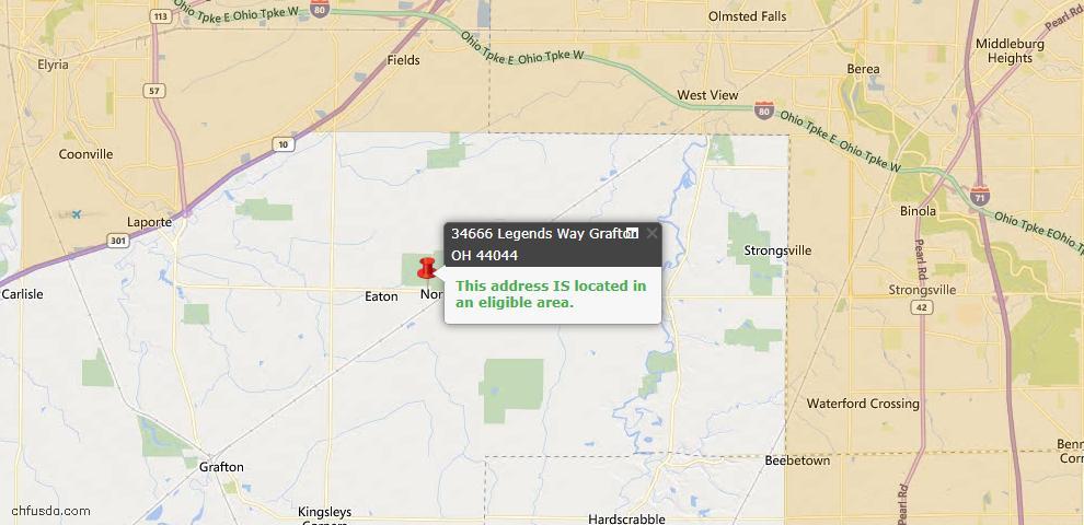USDA Loan Eligiblity Map - 34666 N Legends Way, Grafton, OH 44044