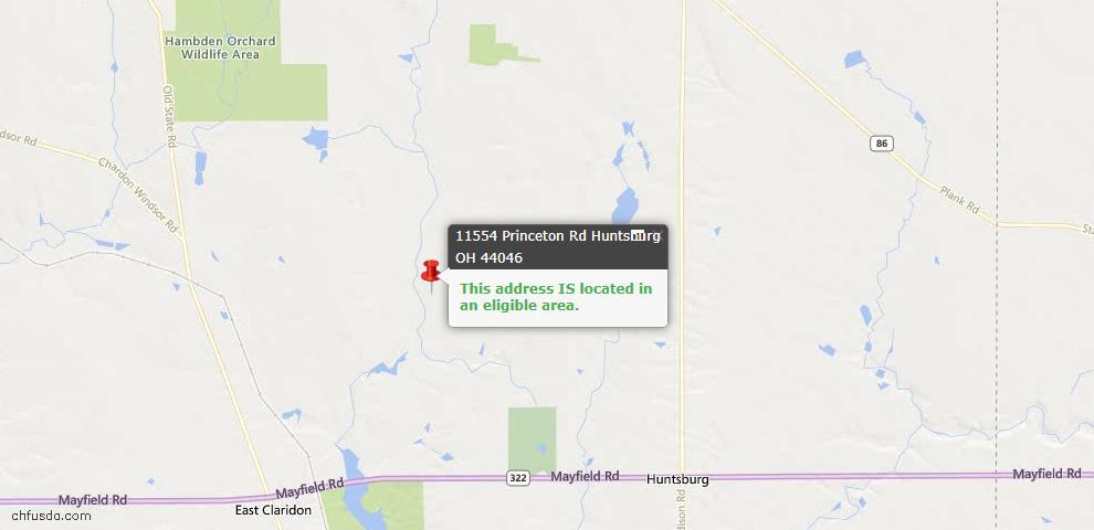 USDA Loan Eligiblity Maps From - Huntsburg, OH