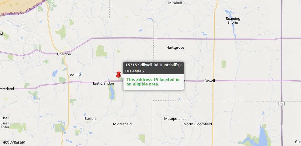 USDA Loan Eligiblity Map - 15715 Stillwell Rd, Huntsburg, OH 44046