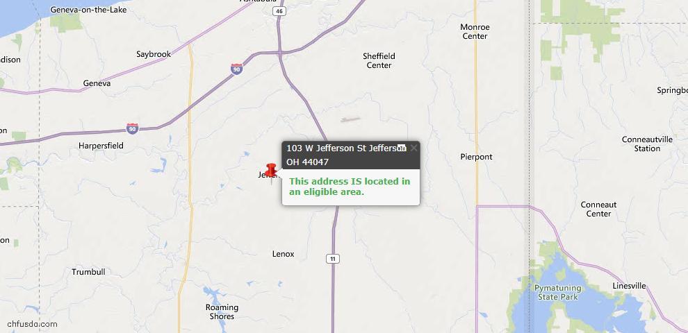 USDA Loan Eligiblity Map - 103 W Jefferson St, Jefferson, OH 44047